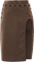 Ann Demeulemeester Button-Detailed Cutout Twill Pencil Skirt