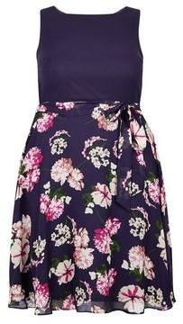 Dorothy Perkins Womens **Billie & Blossom Curve Navy Floral Print Midi Dress
