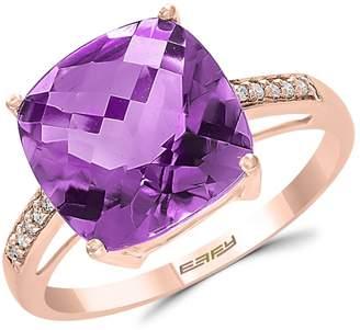 Effy Colour 14K Rose Gold, Amethyst 0.04 CT. T.W. Diamond Ring