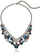 "Sorrelli Blue Brocade"" Round Crystal Cluster Bib Necklace, 16"" + 4"" Extender"