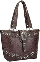 Dasein Wine & Coffee Rhinestone-Buckle Camo Tote