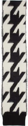 Alexander McQueen Black and White Dogtooth Mohair Jacquard Scarf