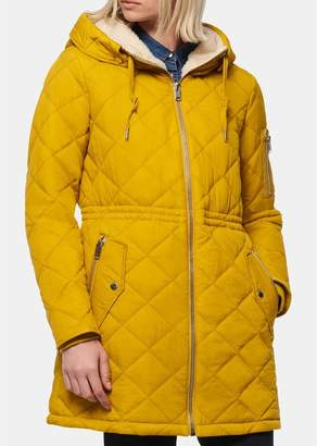 Andrew Marc Cascade Faux Shearling Lined Hood Quilted Parka