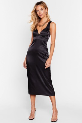 Nasty Gal Womens Took the Plunge Satin Midi Dress - Black - 6