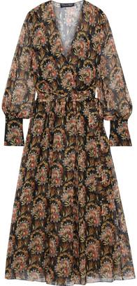 Oscar de la Renta Wrap-effect Floral-print Silk-chiffon Maxi Dress
