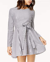 Love, Fire Juniors' Striped Sash-Belt Fit and Flare Dress