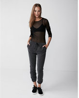 Express fitted sheer crew neck top