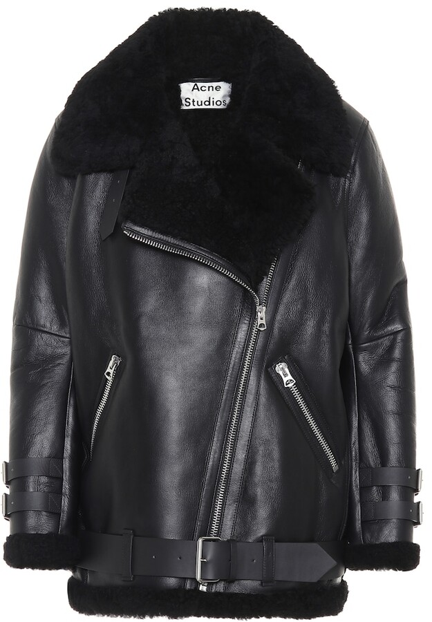 96edf34fefc70 Acne Black Shearling Jacket - ShopStyle