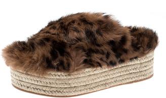 Miu Miu Brown Leopard Print Fur Cross Strap Espadrille Platform Slides Size 38.5
