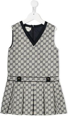 Gucci Kids Monogram Print Pleated Dress