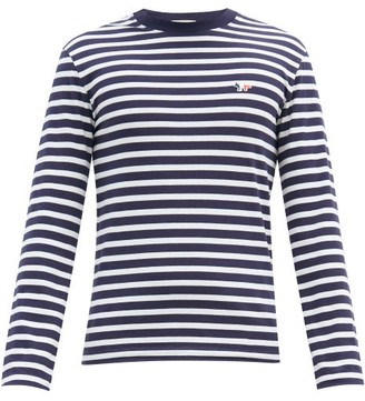 MAISON KITSUNÉ Tricolour Fox-patch Striped Cotton T-shirt - Mens - Navy White