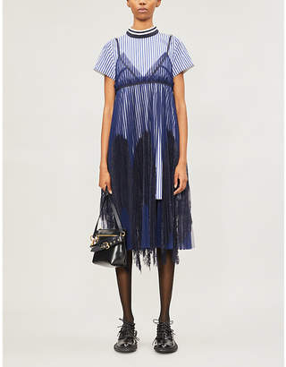 Sacai Mesh-overlay woven and lace dress