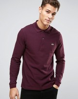 Lacoste Polo Shirt With Long Sleeves Fine Stripe In Red Regular Fit
