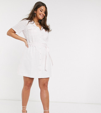 Fashion Union Plus mini shirt dress in check with tie waist