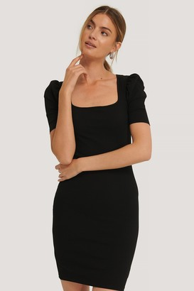 NA-KD Ribbed Puff Sleeve Dress
