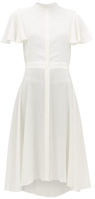 Alexander McQueen Waved Silk-crepe Dress - Womens - White