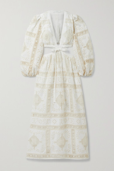 Thumbnail for your product : Zimmermann Aliane Cutout Tie-front Broderie Anglaise Cotton Midi Dress - Ivory