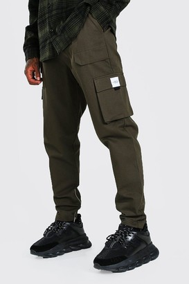 boohoo Mens Green Utility Pocket Cargo Jogger Trouser With Zip Hem, Green