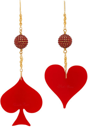 Undercover Red and Gold Spade and Heart Earrings