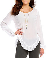 GB Ruffle Hem Long-Sleeve Gauze Top