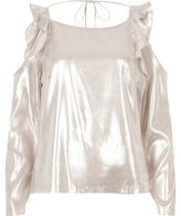River Island Womens Metallic pink frill cold shoulder top