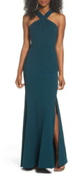 Jenny Yoo Collection Kayleigh Cross Front Crepe Knit Gown