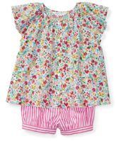 Ralph Lauren Flutter-Sleeve Top & Bloomer Pink/White Multi 3M