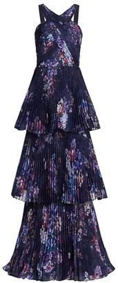 Marchesa Halter Pleated Chiffon Gown