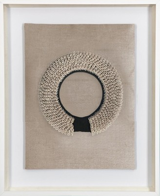 Bandhini Shell Ring Black On Natural Fabric Artwork