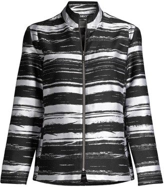 Misook Abstract Stripe Zip-Front Jacket