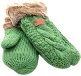 Aran Traditions Green Fur Trim Mitts
