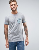 Jack and Jones Originals T-Shirt With Floral Pocket
