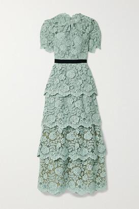 Self-Portrait Grosgrain-trimmed Tiered Corded Lace Maxi Dress - Mint