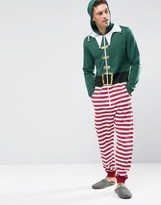 Asos Loungewear Holidays Elf Onesie With Bells