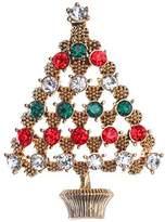 Jones New York Goldtone Christmas Tree Pin - Red Green Clear Rhinestones