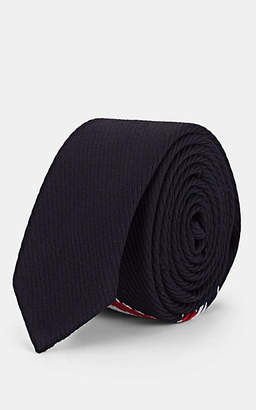 Thom Browne Men's Striped Wool-Blend Necktie - Navy