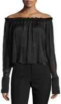 Saloni Brooke Off-the-Shoulder Geometric Lace Top