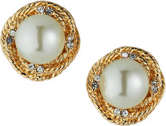 Kenneth Jay Lane Love Knot & Pearly Clip Earrings