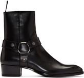 Saint Laurent Black Leather Wyatt Boots