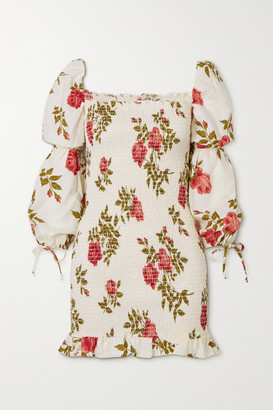 Reformation Hilary Smocked Floral-print Linen Mini Dress - White