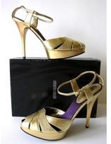 Roberto Cavalli pristine (PR Leather Platform Sandals sz 40.5