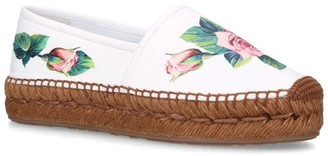 Dolce & Gabbana Leather Tropical Rose Print Espadrilles