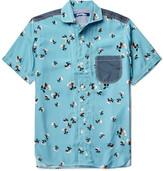 Junya Watanabe Cotton-Chambray Trimmed Printed Woven Shirt