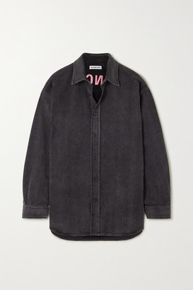 Balenciaga Embroidered Denim Shirt - Black