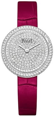 Piaget Possession 18K White Gold, Diamond & Pink Alligator Strap Watch