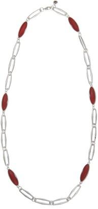 The Sak Oval Red Jasper Stone Station Long Necklace