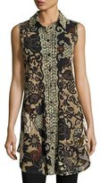 Fuzzi Sleeveless Button-Front Tulle Tunic, Black Pattern