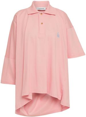 Lanvin Asymmetric Cotton-pique Polo Shirt