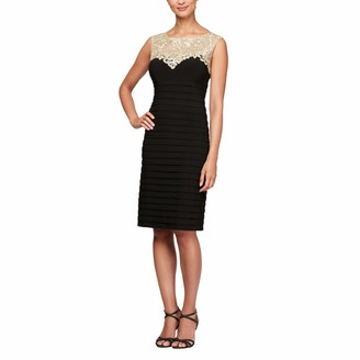 Alex Evenings Women's Short Sheath Sleeveless Dress Sweetheart Neckline