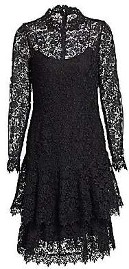 Teri Jon by Rickie Freeman Women's Floral Lace Long-Sleeve Tiered A-Line Dress